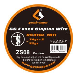 Geek Vape - SS Fused Clapton Wire   SS316L   24ga*2 + 32ga   ZS08