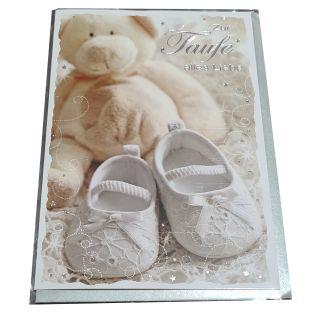 zur Taufe: Zur Taufe alles Liebe ; Teddybär und Babyschuhe