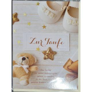 zur Taufe: Das Gefühl ; Teddybär, Sterne, Babyschuhe